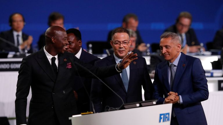Morocco FA president Fouzi Lekjaa, centre, said his country is still 'determined' to host the tournament