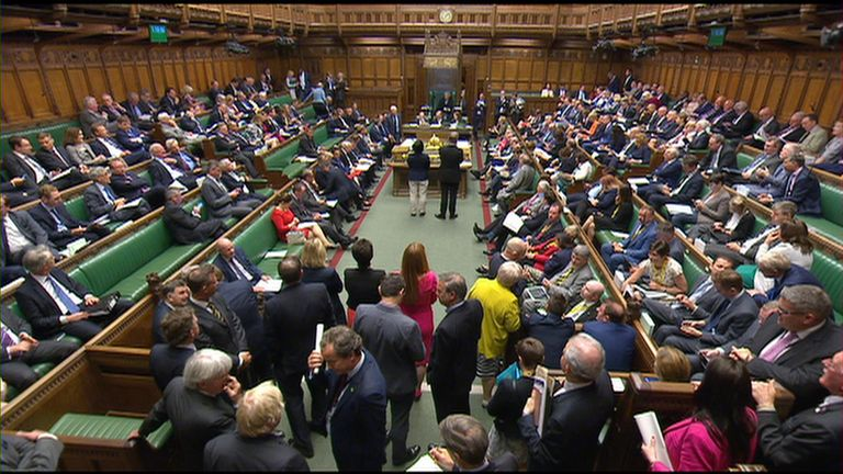 House of Commons, MPs debating the Brexit Bill