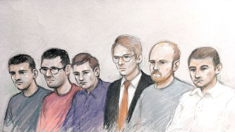 (L-R) Garron Helm, Michal Trubini, Andrew Clarke, Matthew Hankinson, Christopher Lythgoe and Jack Renshaw at the Old Bailey