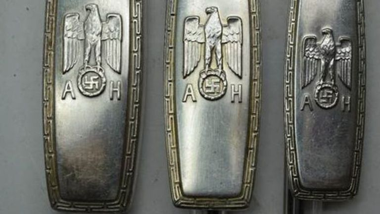Hitler's initials are etched on the cutlery. Pic: Charterhouse Auctioneers