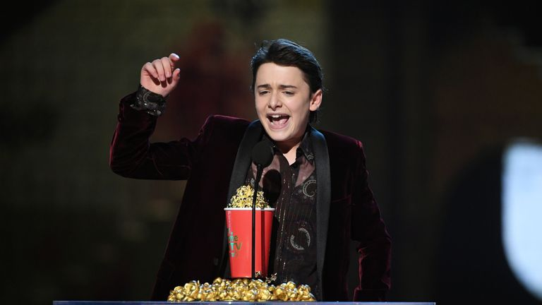 Actor Noah Schnapp accepts the Most Frightened Performance award for Stranger Things