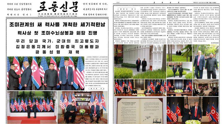North Korean newspaperRodong Sinmun dominated by news of the Trump-Kim summit