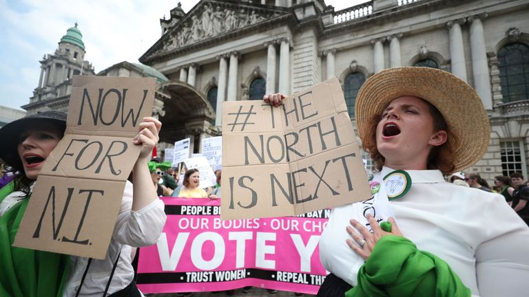 The Northern Ireland march was dominated by the abortion debate