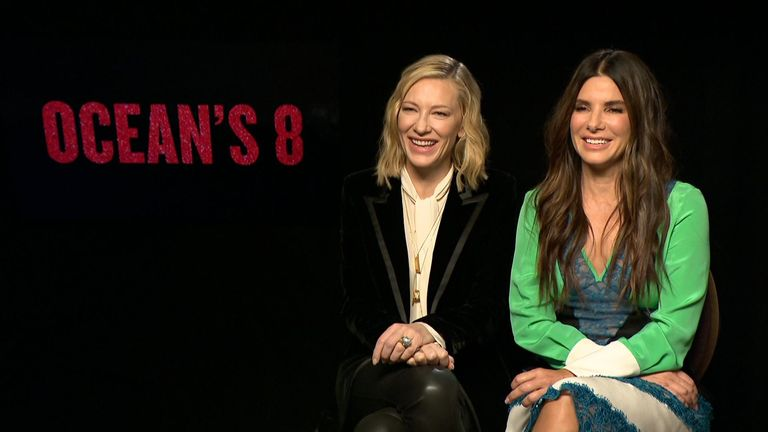 Actors Cate Blanchett and Sandra Bullock speak to Sky News, ahead of the release of 'Oceans 8' with an all-female cast