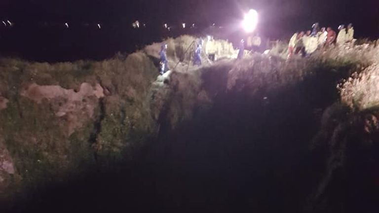 A rescuer being winched down the cliff face. Pic: Newquay Coastguard Rescue Team
