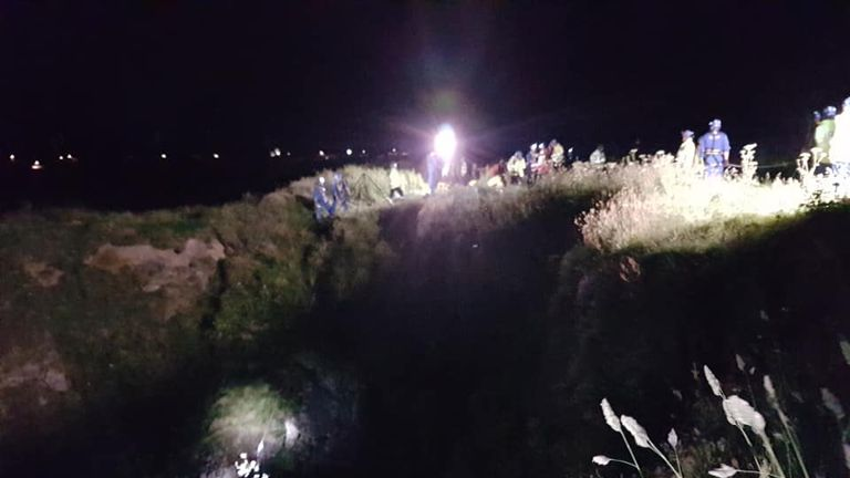 The boy was winched up on a stretcher. Pic: Newquay Coastguard Rescue Team