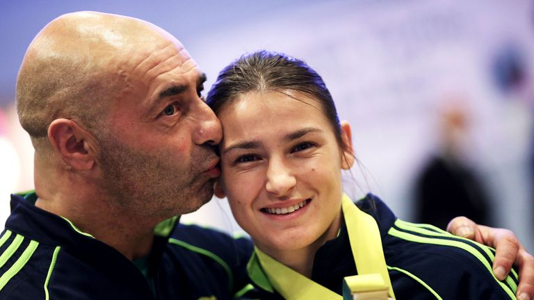 Pete Taylor with his daughter, Olympic gold medallist Katie Taylor, in 2014