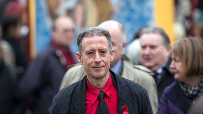 LONDON, ENGLAND - MARCH 27: Peter Tatchell arrives at St Margaret's Church to attend the funeral for Tony Benn on March 27, 2014 in London, England. Former Labour cabinet minister and opponent to the Iraq War Tony Benn, died at the age of 88 on March 14, 2014. (Photo by Oli Scarff/Getty Images)