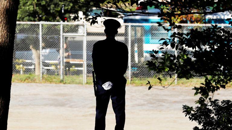 Police officer in Tokyo, Japan