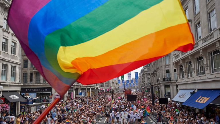The Pride parade takes place in London annually