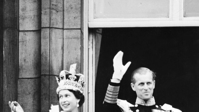 The Queen and Prince Philip after the coronation in 1953