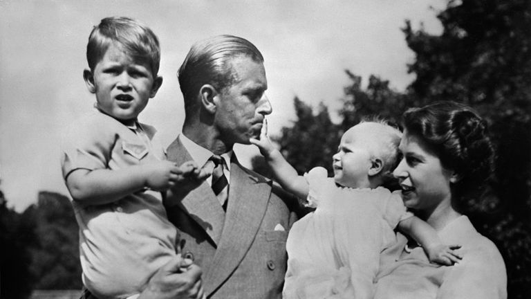 The Queen and Prince Philip with Prince Charles and Princess Anne pictured in 1951