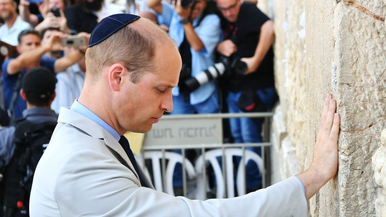 Prince William visits the Western Wall, also known as the Wailing Wall