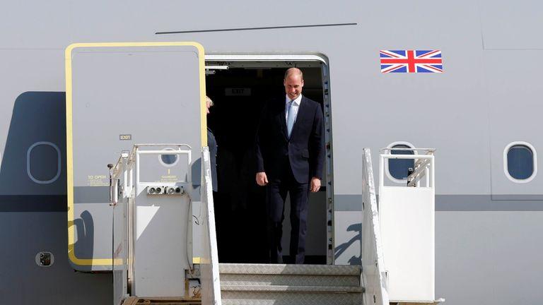 Prince William arriving in Amman, Jordan