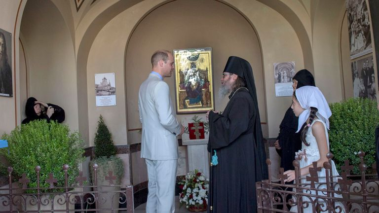 The Duke of Cambridge during a visit to the church of St. Mary Magdalene in Jerusalem, as part of his tour of the Middle East