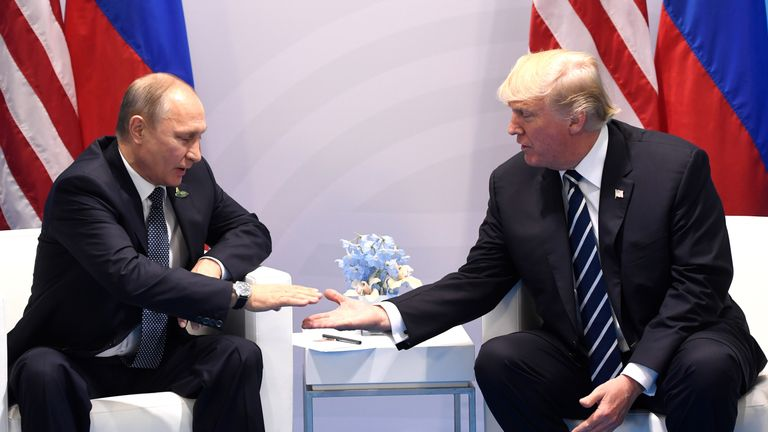 President Putin and President meet in Germany in July 2017