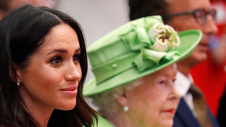 Queen Elizabeth and Meghan, the Duchess of Sussex, visit the Storyhouse in Chester