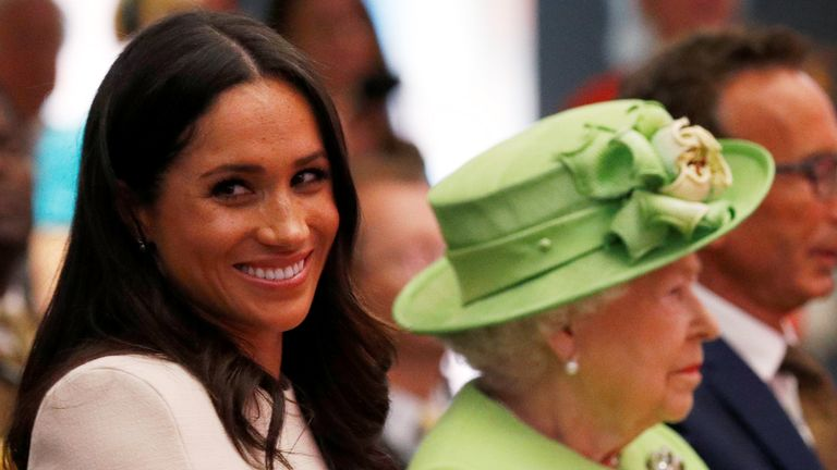 Queen Elizabeth and Meghan, the Duchess of Sussex
