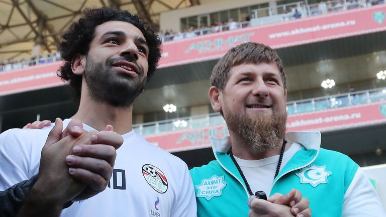 3853ed138 World Cup  Egypt and Liverpool striker Mo Salah meets Chechen ...
