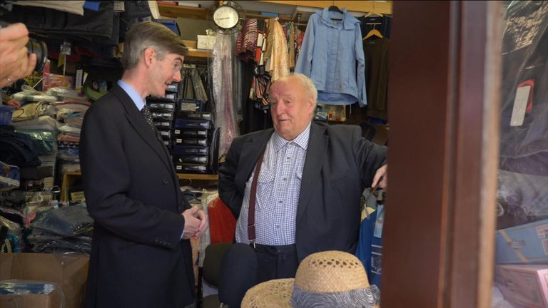 Mr Rees-Mogg with business owner Harold Johnston