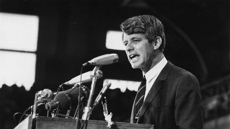 Robert Kennedy speaking at an election rally