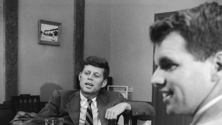 Bobby Kennedy with his brother John (left)