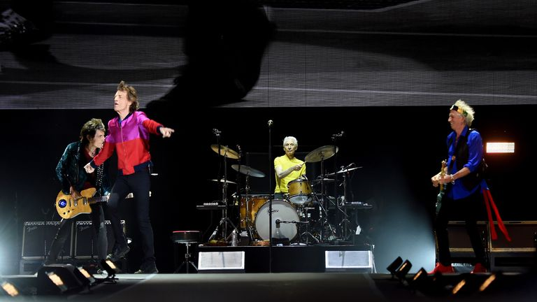 Musician Ronnie Wood, singer Mick Jagger, musicians Charlie Watts and Keith Richards of The Rolling Stones perform during Desert Trip at the Empire Polo Field on October 14, 2016 in Indio, California