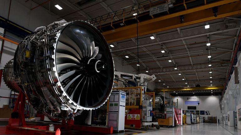 Rolls Royce XWB engine assembly line in Derby