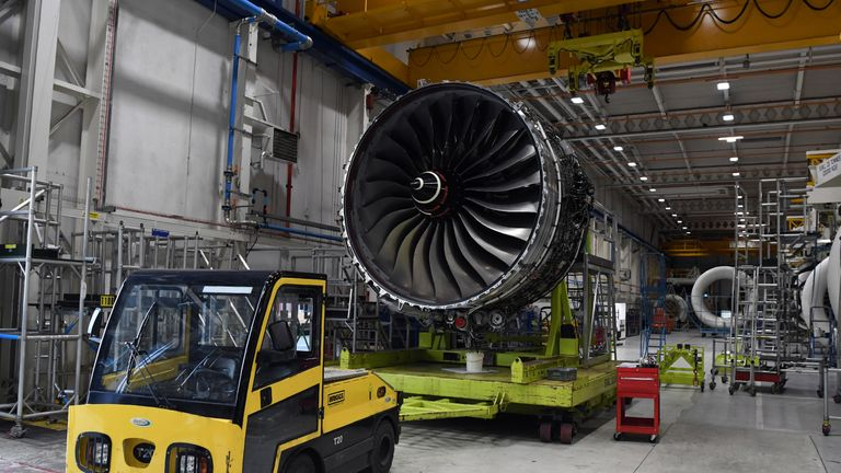 The Rolls Royce XWB engine assembly line in Derby.