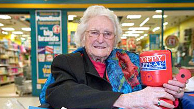 Rosemary Powell retires from poppy selling at 103