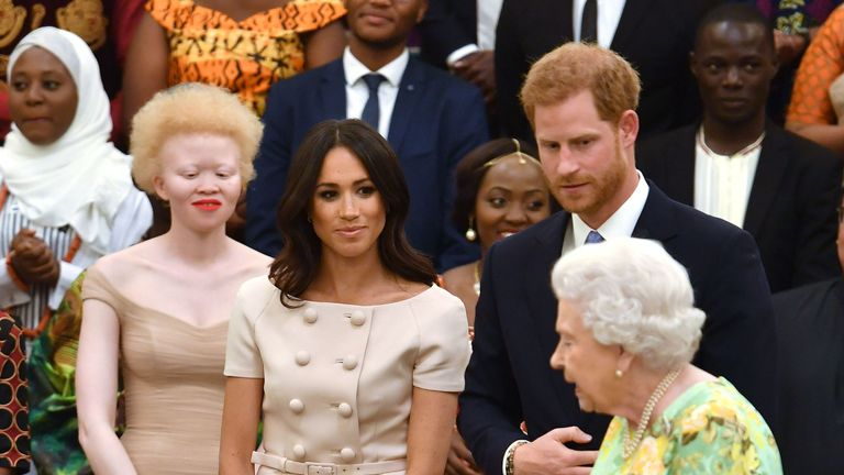 The Queen and Duke and Duchess of Sussex at the Young Leaders awards ceremony