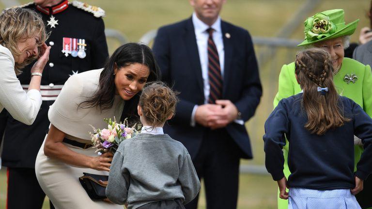 Meghan was given flowers by a school pupil in Runcorn