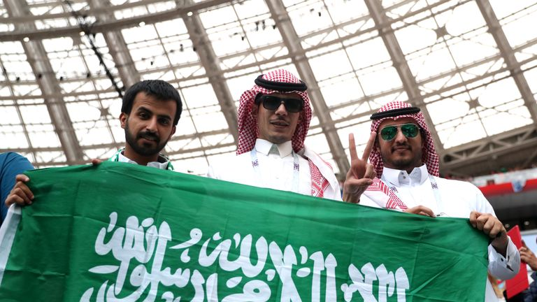 Saudi Arabia fans enjoying the pre-match atmosphere before the opening game against Russia
