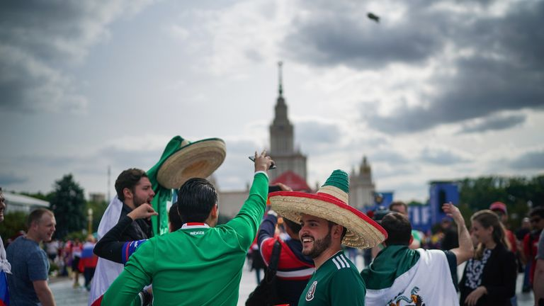 Fans from Mexico at the official FIFA Fan Fest at Moscow State University