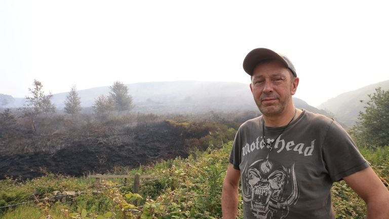 Farmer Chris Keyts alerted the Fire Brigade to the Saddleworth fire