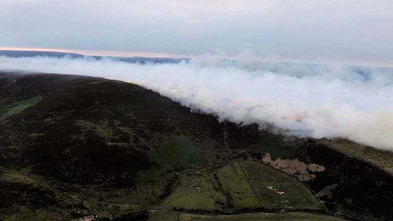 Smoke billows on Saddleworth Moor. Pic: National Police Air Service/@NPAS_Barton