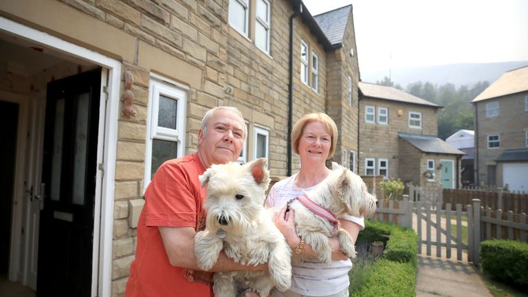 Peter and Sue McDowell were evacuated from their home with their two dogs Daisy and Alfie