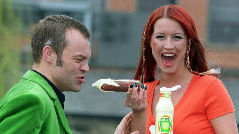 Presenters Denise Van Outen and Graham Norton helped relaunched Heinz Salad Cream in 2000