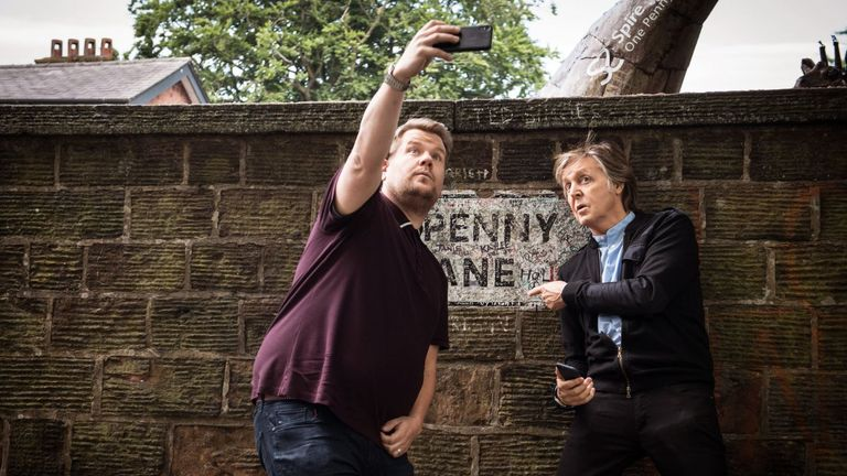Sir Paul and James Corden in Penny Lane. Pic: Twitter/@latelateshow