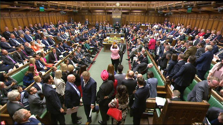 The MPs start to leave the benches