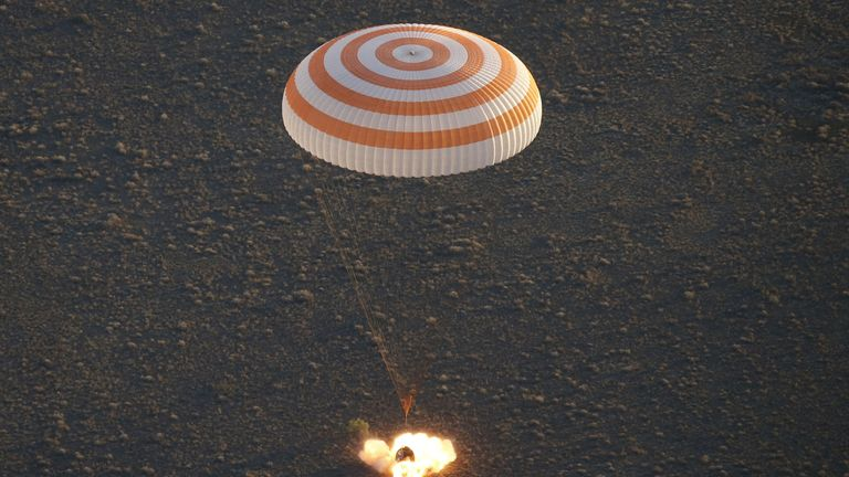 A Soyuz landing in  Kazakhstan in September 2016