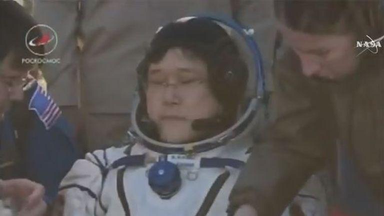 Japanese astronaut Norishige Kanai after emerging from the capsule