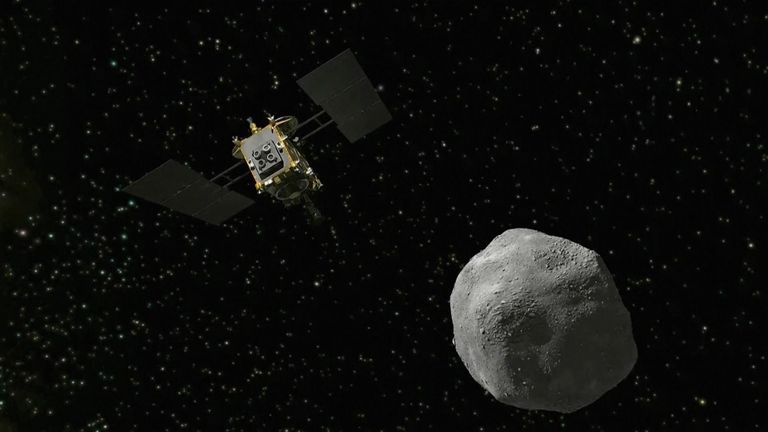 A Japanese space explorer arrived at an asteroid Wednesday after a 3½-year journey to undertake a first-ever experiment: blow a crater in the rocky surface to collect samples and bring them back to Earth.