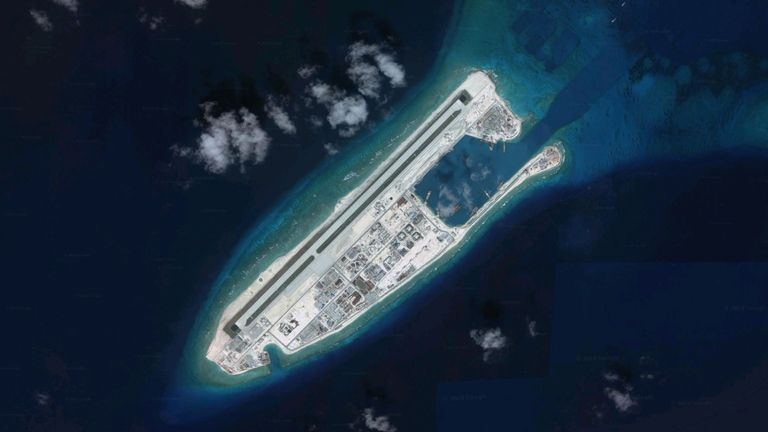 China claims control of the Fiery Cross Reef in the Spratly Island. Pic: Google Earth