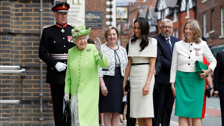 The Queen and Meghan arrive at the Storyhouse opening