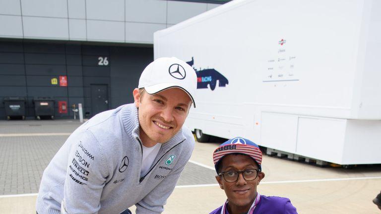 Tarun meets Nico Rosberg at the British Grand Prix