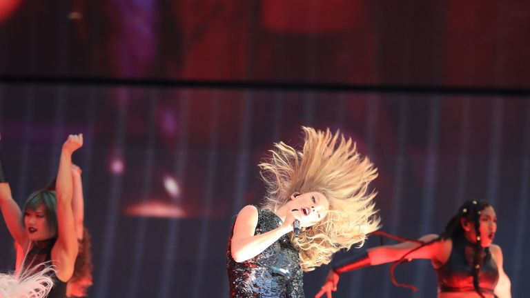 Taylor Swift on stage as she opens her Reputation stadium tour at the Eitihad Stadium, Manchester