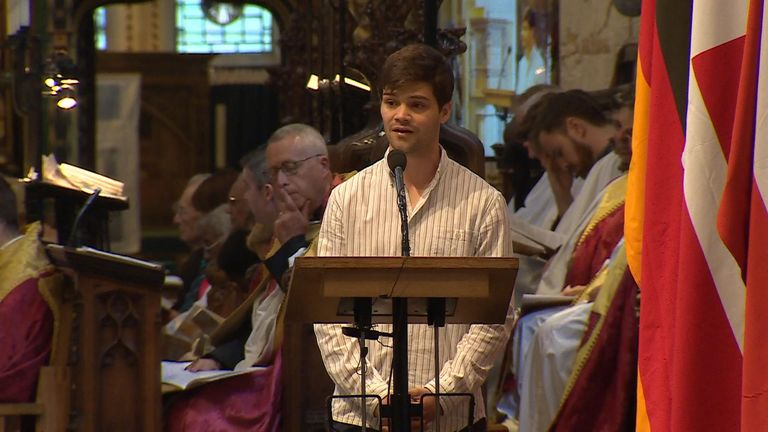 Local actor Theo Ancient gave an address at the service