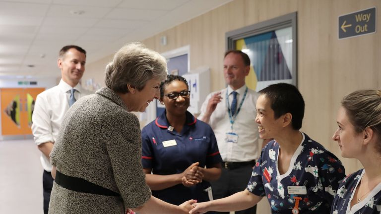 Theresa May and Jeremy Hunt meet nurses during a tour of the Royal Free Hospital, north London