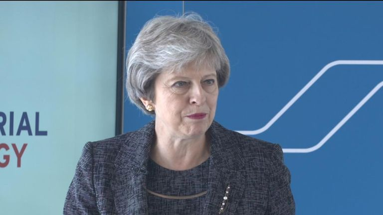 The prime minister Theresa May addresses the Times CEO Summit